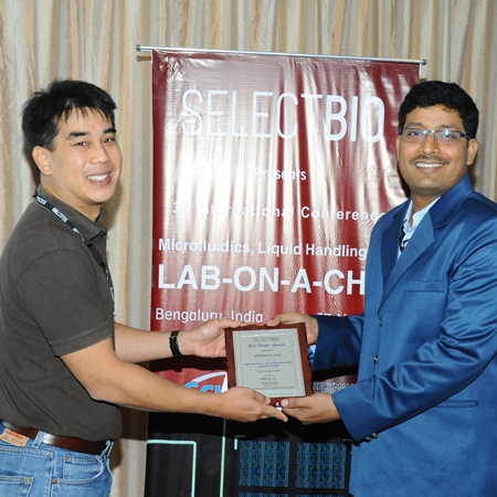 Debiprasad Chakrabarty wins Best Poster Award at Microfluidics, Liquid Handling and Lab on a Chip 2016