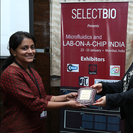 Ms Shweta Bhagwat wins Best Poster Award at Microfluidics and Lab-on-a-Chip India 2015