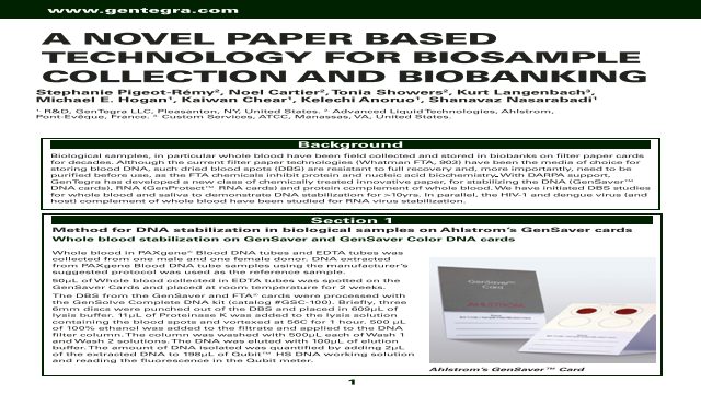 A NOVEL PAPER BASED TECHNOLOGY FOR BIOSAMPLE COLLECTION AND BIOBANKING