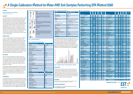 A Single Calibration Method for Waters and Soils Samples Performing EPA Method 8260