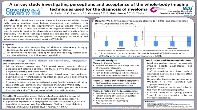 A survey study investigating perceptions and acceptance of the whole-body imaging techniques used for the diagnosis of myeloma