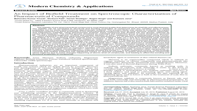 An Impact of Biofield Treatment on Spectroscopic Characterization of Pharmaceutical Compounds