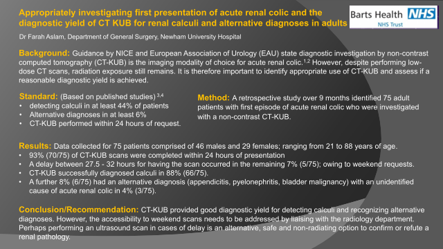 Appropriately investigating first presentation of acute renal colic and the diagnostic yield of CT KUB for renal calculi and alternative diagnoses in adults