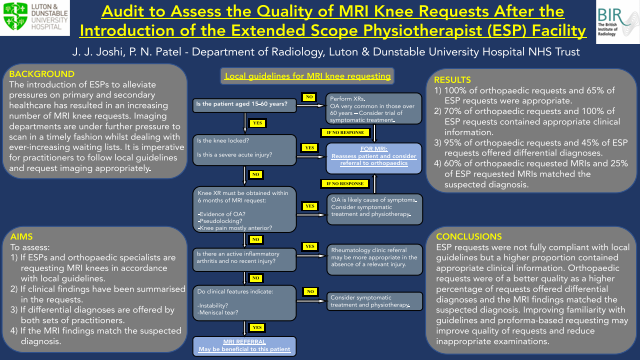 Audit to Assess the Quality of MRI Knee Requests After the Introduction of the Extended Scope Physiotherapist (ESP) Facility