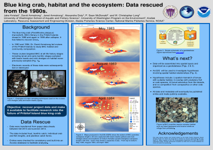 Blue king crab, habitat and the ecosystem; Data rescued from the 1980s.