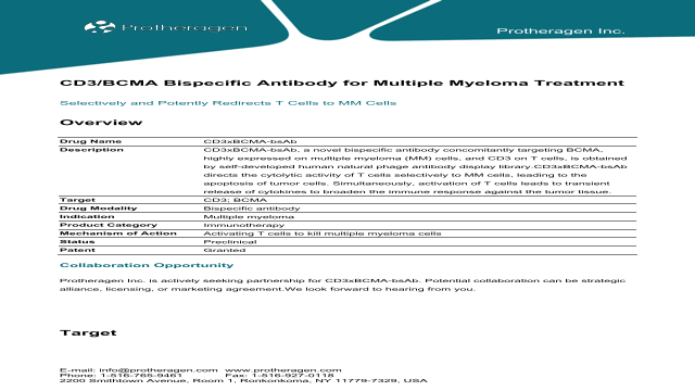 CD3/BCMA Bispecific Antibody for Multiple Myeloma Treatment