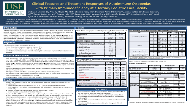 Clinical Features and Treatment Responses of Autoimmune Cytopenias with Primary Immunodeficiency at a Tertiary Pediatric Care Facility