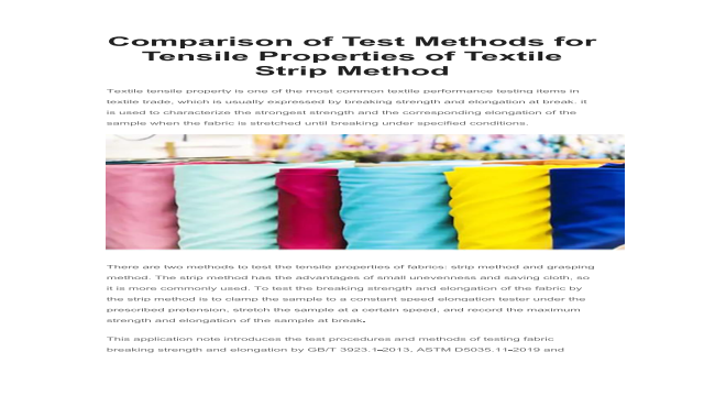 Comparison of Test Methods for Tensile Properties of Textile Strip Method