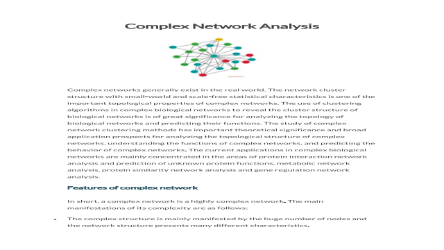 Complex Network Analysis