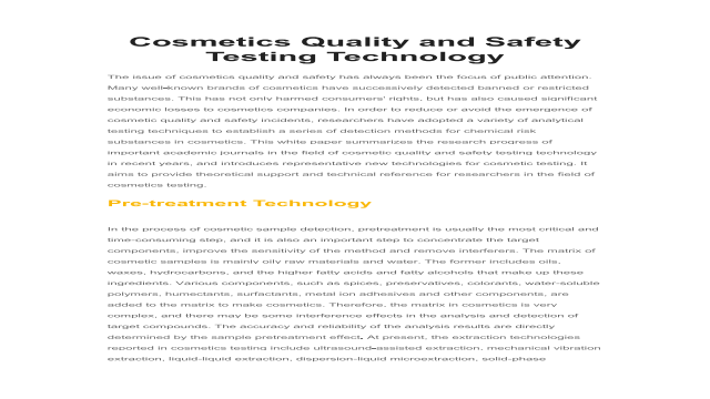 Cosmetics Quality and Safety Testing Technology