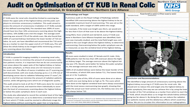 CT KUB Scans for Renal Colic: Optimisation of scan field to reduce patient radiation burden