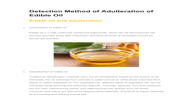 Detection Method of Adulteration of Edible Oil