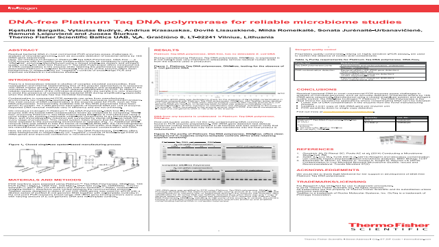 DNA-free Platinum Taq DNA polymerase for reliable microbiome studies