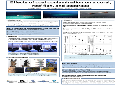Effects of coal contamination on a coral, reef-fish and seagrass