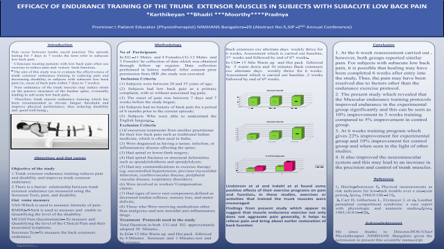 EFFICACY OF ENDURANCE TRAINING OF THE TRUNK EXTENSOR MUSCLES IN SUBJECTS WITH SUBACUTE LOW BACK PAIN