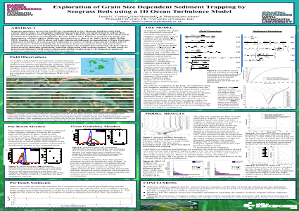 Exploration of Grain Size Dependent Sediment Trapping by Seagrass Beds using a 1D Ocean Turbulence Model