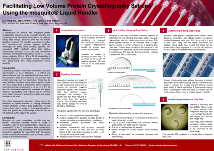 Facilitating Low Volume Protein Crystallography Set-ups Using the Mosquito® Liquid Handler