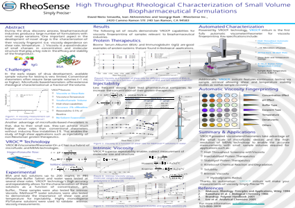 High Throughput Rheological Characterization of Small Volume Biopharmaceutical Formulations