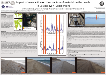 Impact of wave action on the structure of material on the beach in Calypsobyen (Spitsbergen)