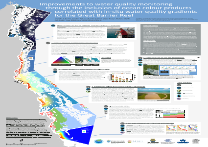 Improvements to water quality monitoring through the inclusion of ocean colour products correlated with in-situ water quality gradients for the Great Barrier Reef