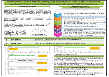 Investigation of the in-vitro metabolites of Etodolac using LC-MS/MS technique