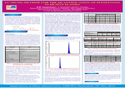 LC-MS/MS METHOD FOR THE QUANTIFICATION OF PITOFENONE IN HUMAN PLASMA