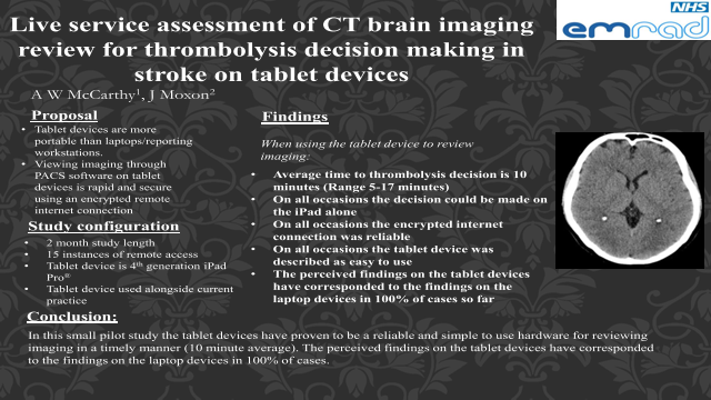 Live service assessment of CT brain imaging review for thrombolysis decision making in stroke on tablet devices