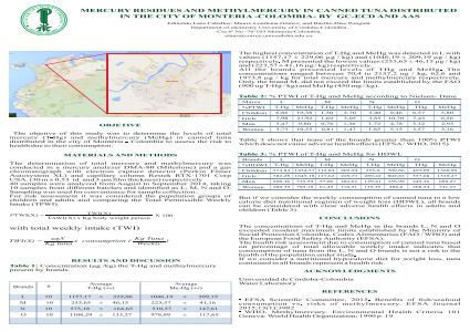 MERCURY RESIDUES AND METHYLMERCURY IN CANNED TUNA DISTRIBUTED IN THE CITY OF MONTERIA -COLOMBIA- BY GC-ECD AND AAS