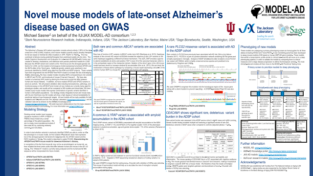 Novel mouse models of late-onset Alzheimer's disease based on GWAS