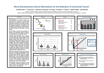 Eposters Novel Nucleosomics Serum Biomarkers For The Detection Of Colorectal Cancer