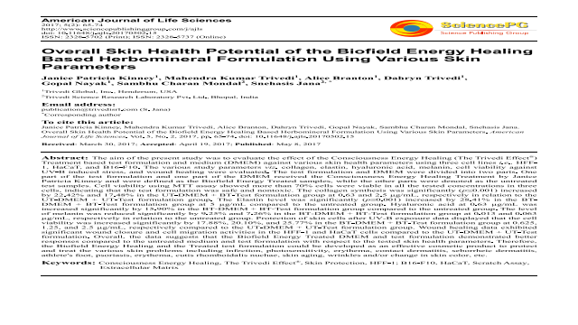 Overall Skin Health Potential of the Biofield Energy Healing Based Herbomineral Formulation Using Various Skin Parameters