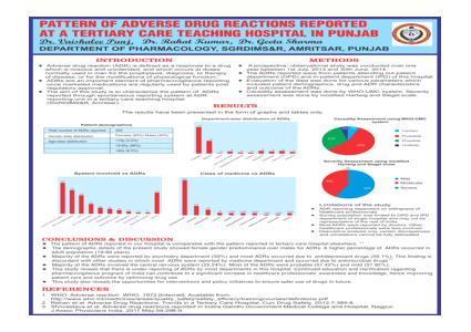 PATTERN OF ADVERSE DRUG REACTIONS REPORTED AT A TERTIARY CARE TEACHING HOSPITAL IN PUNJAB