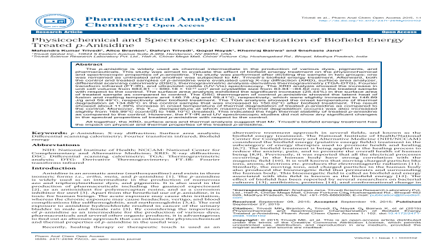 Physicochemical and Spectroscopic Characterization of Biofield Energy Treated p-Anisidine