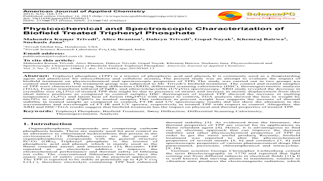 Physicochemical and Spectroscopic Characterization of Biofield Treated Triphenyl Phosphate