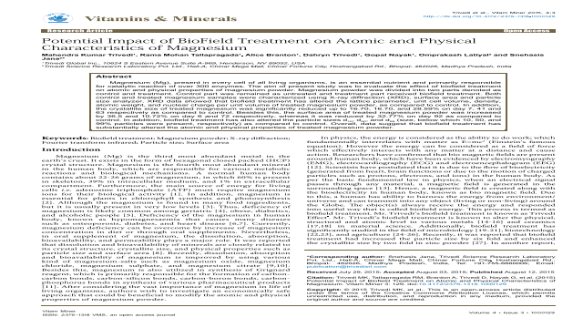 Potential Impact of BioField Treatment on Atomic and Physical Characteristics of Magnesium