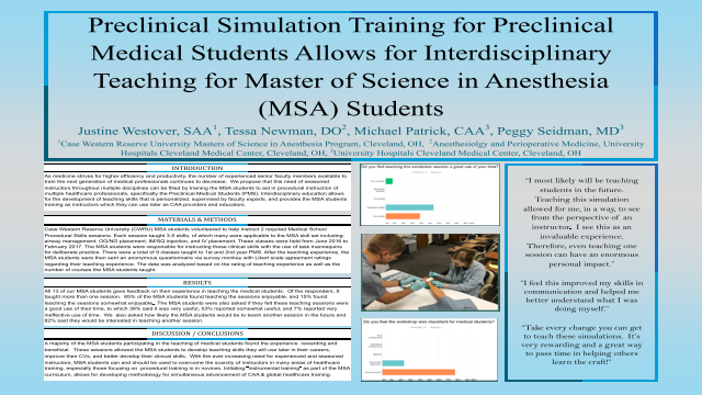 Preclinical Simulation Training for Preclinical Medical Students Allows for Interdisciplinary Teaching for Master of Science in Anesthesia (MSA) Students