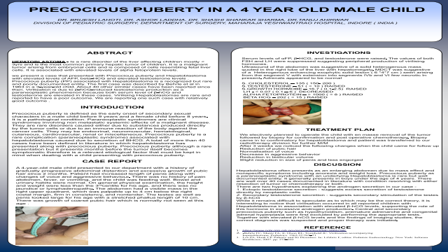 PRECOCIOUS PUBERTY IN A 4 YEAR OLD MALE CHILD