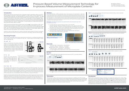 Pressure-Based Volume Measurement Technology for In-process Measurement of Microplate Contents