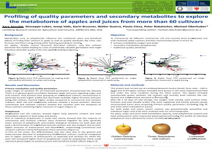 Profiling of quality parameters and secondary metabolites to explore the metabolome of apples and juices from more than 60 cultivars