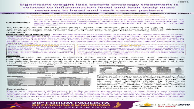 SIGNIFICANT WEIGHTLOSS BEFORE ONCOLOGY TREATMENT IS RELATED TO INFLAMATION LEVEL AND LEAN BODY MASS RESERVESIN HEAD AND NECK CANCER PATIENTS