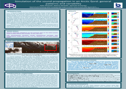 Simulation of the sound propagation in an Arctic fjord: general patterns and variability