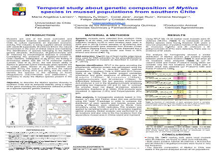 Temporal study about genetic composition of Mytilus species in mussel populations from southern Chile