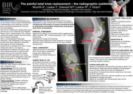 The painful total knee replacement – the radiographic subtleties