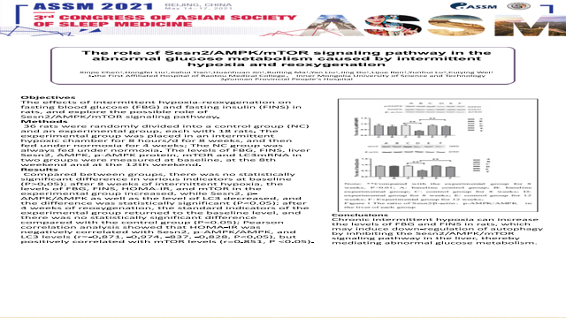 The role of Sesn2/AMPK/mTOR signaling pathway in the abnormal glucose metabolism caused by intermittent hypoxia and reoxygenation