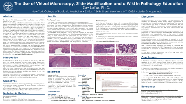 The Use of Virtual Microscopy, Slide Modification and a Wiki in Pathology Education