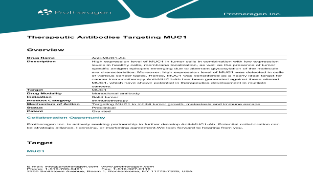 Therapeutic Antibodies Targeting MUC1