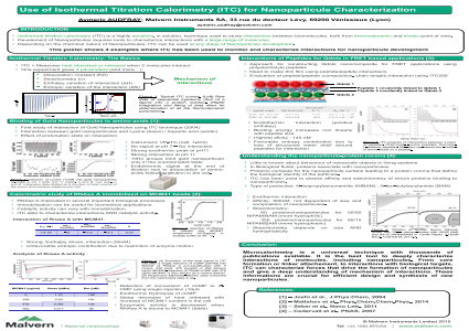 Use of Isothermal Titration Calorimetry (ITC) for Nanoparticule Characterization